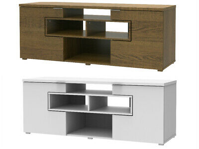 £92.92 • Buy Entertainment Unit TV Stand Storage Cabinet Open Shelf Display DVD White Rustic