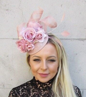 Nude Blush Light Pink Sinamay Rose Flower Feather Hat Fascinator Races Hair 5783 • 31.95£