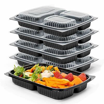 Meal Prep Food Containers 1, 2, 3 Compartment BPA Free Plastic Lunch Box Lids • 8.99£