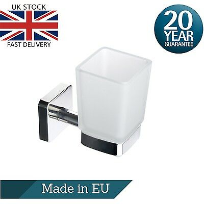 £23.90 • Buy Square Toothbrush Holder Toothpaste Glass Tumbler Wall Mount Steel Self Adhesive