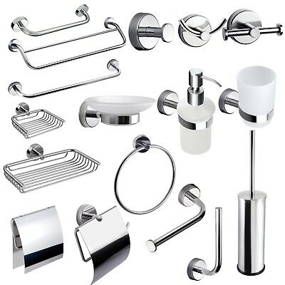 MODERN Set Bathroom Accessories Stainless Steel Glass Self Adhesive Or Drilling • 15.99£