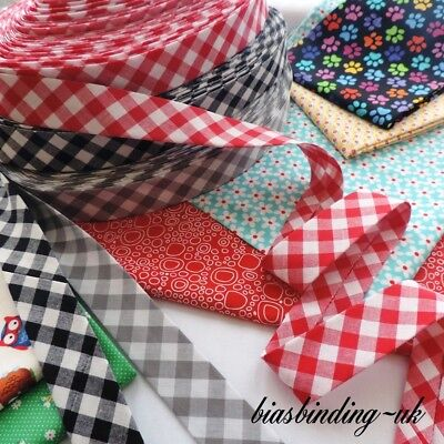£12.99 • Buy 30mm ~ ACUARIO 9mm Gingham Handmade Extra Wide Bias Binding Tape ~ 20 Colours