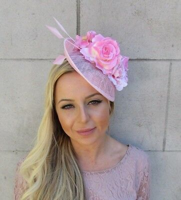 Baby Light Pink Feather Flower Saucer Disc Hat Fascinator Races Wedding 5803 • 34.95£