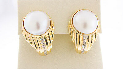 $799.99 • Buy 14K Yellow Gold Women's Natural Mabe Pearl & White Diamonds Omega Clasp Earrings