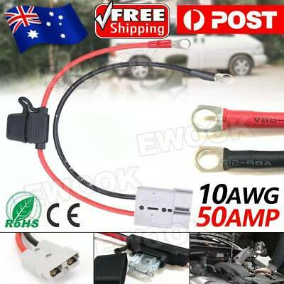 AU16.95 • Buy FUSED Anderson Lead 50amp Plug To 8mm Lugs, 10 B&S 60 Amp Cable Lead 250 Mm OZ