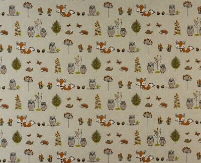 Fryetts Woodland Fox Cotton PVC Fabric WIPE CLEAN Tablecloth Oilcloth • 12.99£