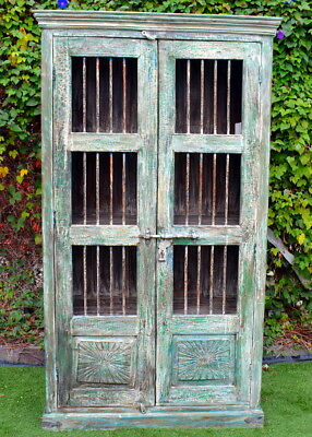AU1280 • Buy Reclaimed Timber & Iron Antique Door Indian Wardrobe Display Cabinet Cupboard