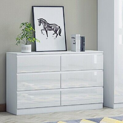 High Gloss White Chest Of 6 Drawers. Large Modern Design Bedroom. W120cm X H77cm • 120£