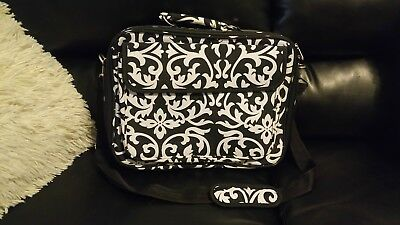 Black And White Damask Design Laptop Carry Case Bag W Straps 17   • 24.99$