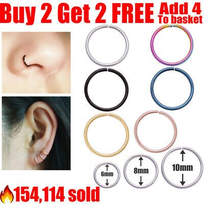 Surgical Steel Nose Ring Lip Nose Rings Cartilage Tragus Helix Ear Piercing Hoop • 0.99£