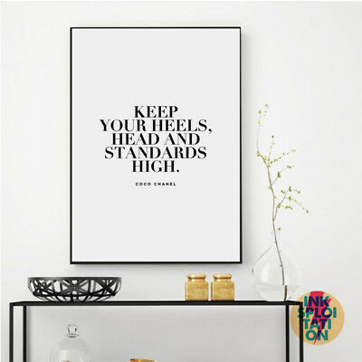 Coco Chanel Quote Print Typography Poster Inspirational Quote Prints Home Decor • 4.95£