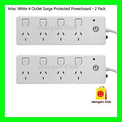 AU38.95 • Buy ARLEC White 4 Outlet Surge Protected Powerboard - 2 Pack Power Board EBC