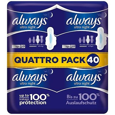£9.99 • Buy Always Ultra Night Sanitary Towels Pads With Wings Pack Of 40, 80 Or 120