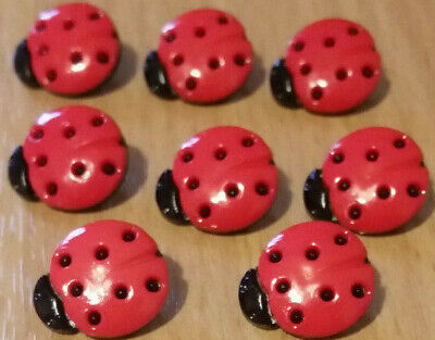 Novelty Ladybird Ladybug Red And Black Buttons, Spotted Shaped Shank Size 15mm • 2.35£
