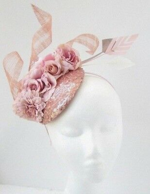 Rose Gold Blush Light Pink Flower Feather Hat Hair Fascinator Races Sequin 5848 • 36.95£