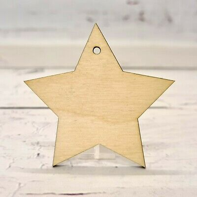 Lasercut Wooden STAR Shape With Hanging Hole Plywood, Blank, Wedding, Crafting  • 4.20£