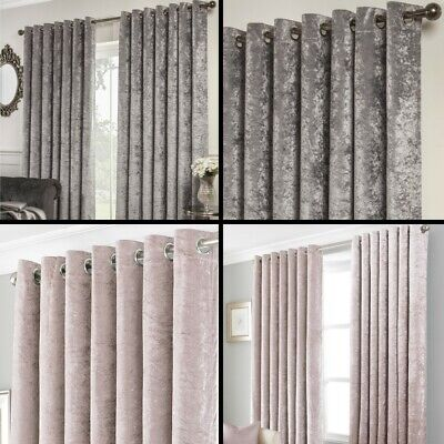 Crushed Velvet Self-Lined Blackout Eyelet Ring Top Curtains Silver Grey Pink • 17.99£