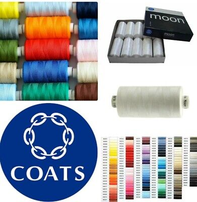Moon Coats Polyester Sewing Thread - Cotton EVERY COLOUR 1000Y (BUY 1 GET 1 FREE • 1.95£