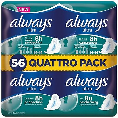 £8.99 • Buy Always Ultra Normal Sanitary Towels Pads With Wings Pack Of 56, 112 Or 168