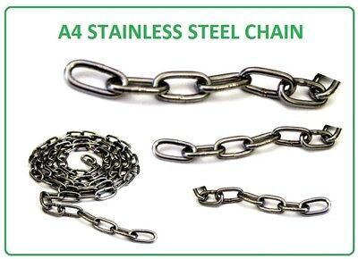 Chain Stainless Steel Grade A4 / 316 Sizes 2mm 3mm 4mm 5mm Marine St/st Chain  • 5.46£