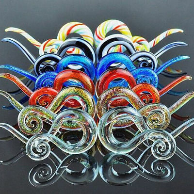 $4.39 • Buy Pair Ear Tunnels Spiral Hand Made Pyrex Glass Earring Tapers Plugs Right & Left