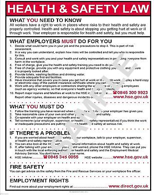 £3.99 • Buy Health And Safety Law A4 Poster