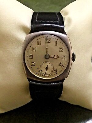 Vintage Military Cyma Swiss Mens' Watch. C 1920's. Sterling Silver Cushion Case. • 369.42£