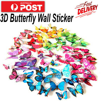 AU4.32 • Buy 12Pcs 3D DIY Wall Decal Stickers Butterfly Home Room Art Decor Decorations 12PCS
