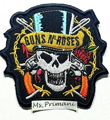 £1.89 • Buy Embroidered Guns And Roses Sew/Iron On Patch Biker Rock Music Badge 9 X 9 CM
