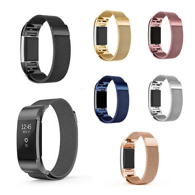 AU11.29 • Buy Magnetic Stainless Milanese Loop Wrist Band Strap For FitBit Charge 2  S / L New