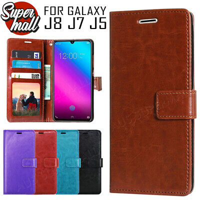 AU8.95 • Buy Galaxy J8 J7 J5 Pro 2018 2017 Premium Wallet Flip Leather Cover Case For Samsung