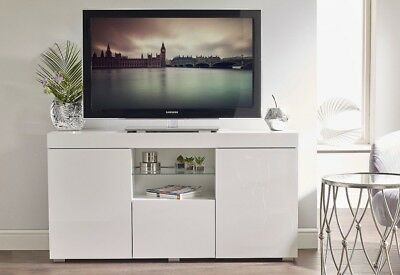 White High Gloss TV Cabinet Media Unit Stand Sideboard Lowboard Glass Display • 184.95£