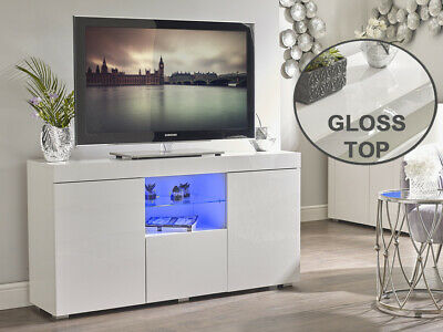 White High Gloss TV Cabinet Unit Stand Sideboard Lowboard Glass Shelf LED Light • 199.95£