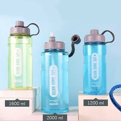 AU19.88 • Buy 1.2L-2L Portable Large Water Drinks Bottle W/ Straw Sports Cycling Hiking Gym