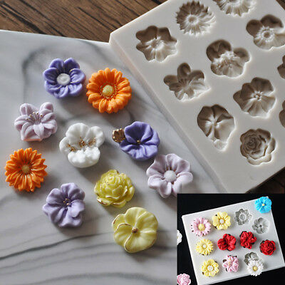 Silicone Flower Lace Fondant Mould Cake Rose Plants Decorating Baking Icing Mold • 4.25£