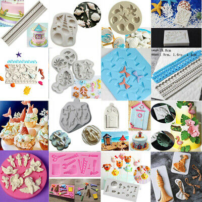 £3.25 • Buy Beach Sea Silicone Fondant Cake Mold Ocean Animals Decorating Baking Icing Mould