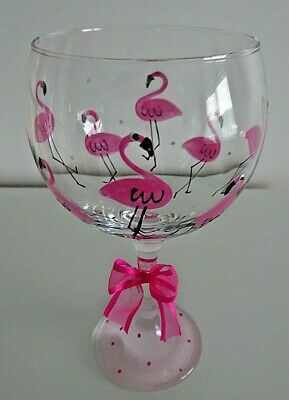 Personalised Flamingo GIN Glass Decorated Hand Painted With Free Gift Box  • 11.95£