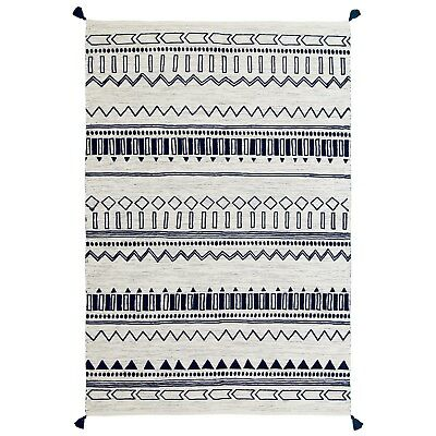 Moroccan Tribal Ethnic Design Printed Blue Cream Cotton Durrie Flat Weave Rugs • 59.99£