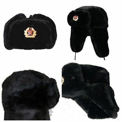 New Russian Trapper Hat With Soviet Badge Faux Fur Ushanka Cossack Flaps  • 8.45£