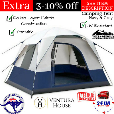 AU87.09 • Buy Tent 4 Person Man Family Camping Dome Waterproof Outdoor Family Tent Navy & Grey