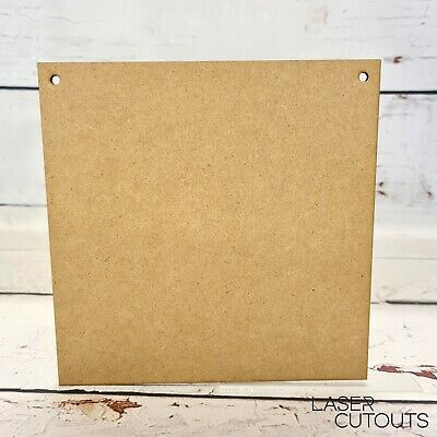£4.30 • Buy Wooden Square Plaques 20cmx20cm With 2 Holes MDF Wood Sign Craft Blank