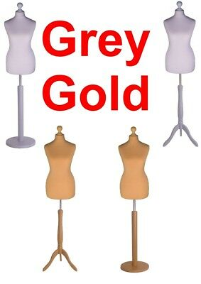 Tailors Dummy 12/14 Gold Grey Dressmakers Bust Retail Display Fashion Mannequin • 27.07£