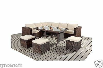 View Details 9 SEATER RATTAN GARDEN FURNITURE SOFA DINING TABLE SET CONSERVATORY OUTDOOR • 529.00£
