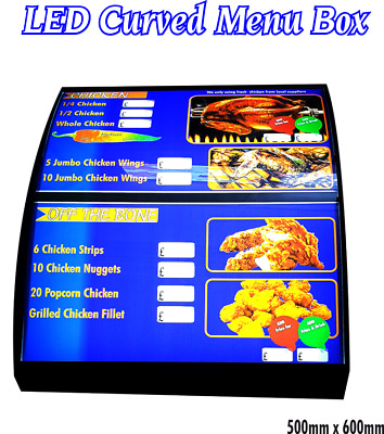 Approx 50x 60cm LED Curved Menu Box Illuminated Board Sign Restaurant Takeaway  • 165£