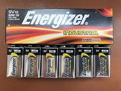 6 X Energizer 9v Industrial Batteries Block Battery Alkaline Smoke Alarm PP3 • 7.39£