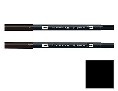 TOMBOW ABT Dual Brush Pen - Black (ABT-N15) X 2 (Twin Pack) • 6.49£