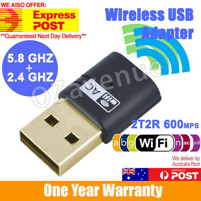 AU11.95 • Buy 600Mbps Dual Band 802.11ac 2.4GHz 5GHz PC USB WiFi Adapter Network LAN Dongle