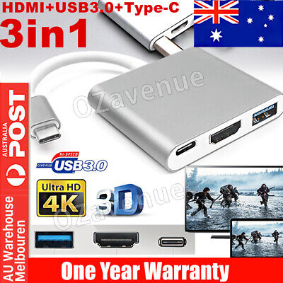AU12.49 • Buy 3 IN 1 USB 3.1 Type-C USB-C To Female HUB 4K HD HDMI Data Charging Cable Adapter
