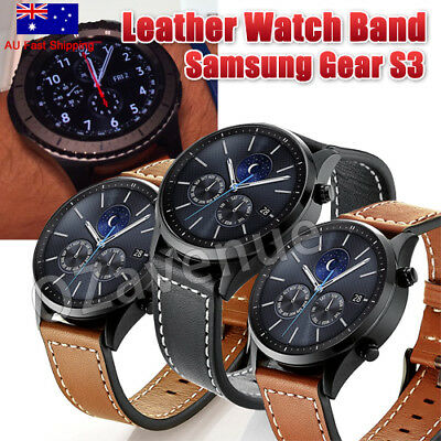 AU15.63 • Buy Genuine Leather Wrist Watch Band Strap For Samsung Gear S3 Frontier/Classic 22mm