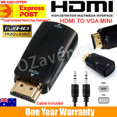 AU8.99 • Buy HDMI Male To VGA Female Converter Box Adapter With Audio Cable For PC Lot #C
